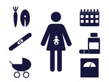 pictogram of a pregnant woman with pregnancy related icons around