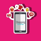 e-commerce from smartphone isolated icon design, vector illustration  graphic
