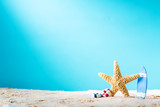 Summer theme with starfish and surfboard - 115032711
