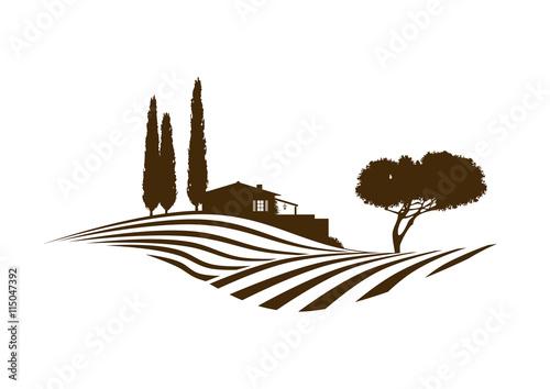 Fotobehang Wit mediterrane vektor Landschaft mit Feldern, Haus und Baum