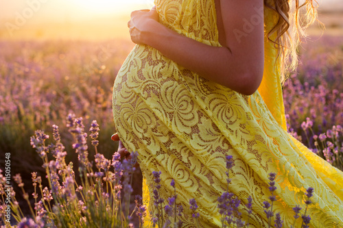 Belly of pregnant woman in a lavender field