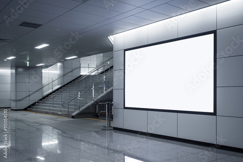 Billboard Banner signage mock up display in subway with stairs