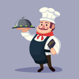 Funny cute fat cartoon Chief cook character with delicious dish