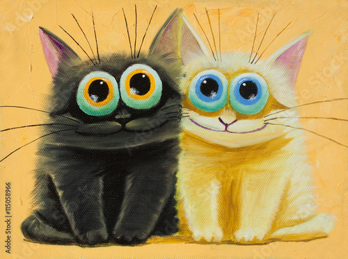 Fototapeta an original painting on canvas of white and black funny cats with big eyes, joy and happy mood, part of collection.