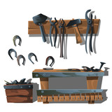 Workstation forge, horseshoes and tools