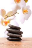 Fototapety Massagesteine, Spa Steine und Orchideen
