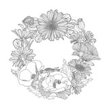 poppy and chamomile wreath