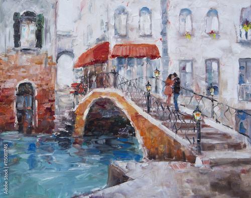 Obraz na Szkle Art Oil-Painting Picture Venice. The Bridge With Lovers.
