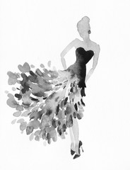 elegant lady. watercolor fashion illustration © Anna Ismagilova