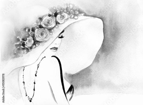 elegancka-dama-ilustracja-moda-akwarela