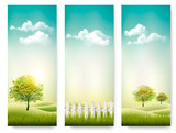 Three summer background banners. Vector.
