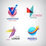 Vector set of abstract logos, progress arrow grow icon, tick sign.