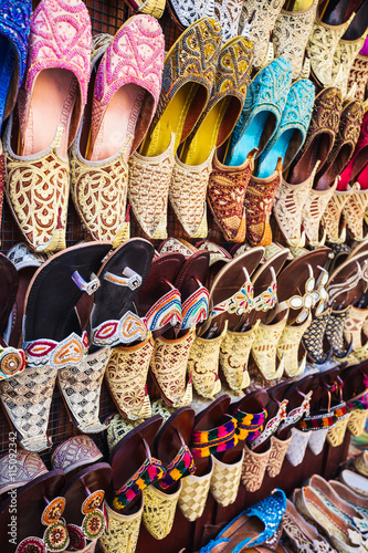 Poster colorful shoes in souk Dubai