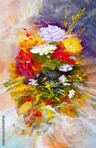 Zdjęcia na płótnie, fototapety, obrazy : Oil painting flowers
