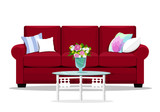 Red soft luxury style sofa with glass table for living room. Cute place for rest: couch and pillows. Flat design home furniture. Vector illustration isolated.