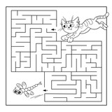 Cartoon Vector Illustration of Education Maze or Labyrinth Game for Preschool Children. Puzzle. Coloring Page Outline Of cat with dragonfly. Coloring book for kids.