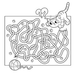 Cartoon Vector Illustration of Education Maze or Labyrinth Game for Preschool Children. Puzzle. Tangled Road. Coloring Page Outline Of cat with ball of yarn. Coloring book for kids.
