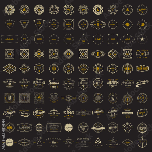 Fototapeta Vector logo, label, monogram, insignia bundle templates. 100 elements in classic, retro, vintage, hipster styles.