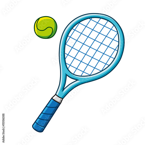 Plagát, Obraz Blue tennis racket and a tennis ball vector icon.