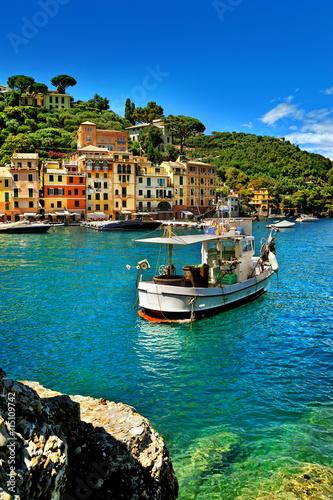 La magnifique baie de Portofino, le port de luxe avec bateau de pêche Poster