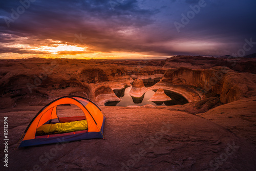 fototapeta na ścianę Remote Camping Lake Powell Reflection Canyon Utah USA