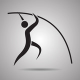 Pole vault player sport icon and symbol