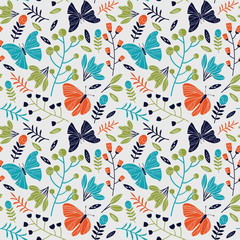Seamless pattern made of flowers and butterflies © cristinn
