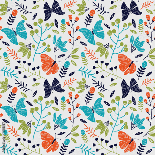 Seamless pattern made of flowers and butterflies