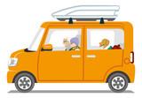 Winter fashion Senior couple riding the Orange color car  - Isolated