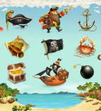 Fototapety Sea pirates, funny character and objects, vector icon set
