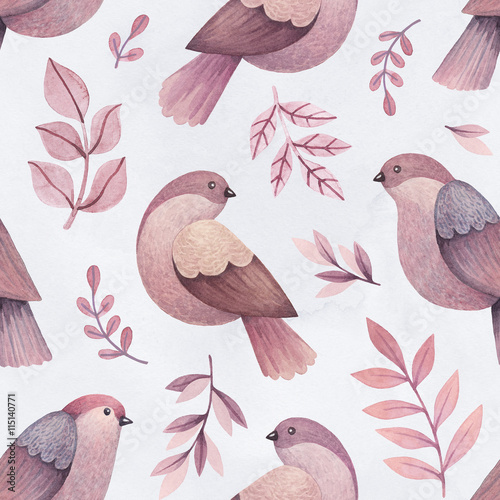 Watercolor illustrations of birds and leaves. Seamless pattern - 115140771