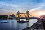 Opened Tower Bridge at sunset, London - 115142913