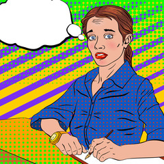 frightened girl in a blue blouse in a pop art style