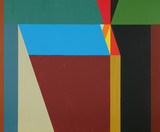 A hard-edged geometric abstract painting