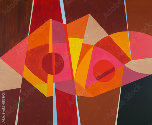 Plakat An abstract painting; predominantly warm colour
