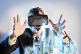 business person are developing a project the architecture of the city using virtual reality glasses the concept
