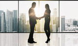 business partners silhouettes making handshake