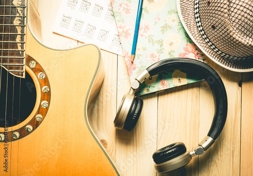 Headphone with Guitar instrument for Music Appreciation.