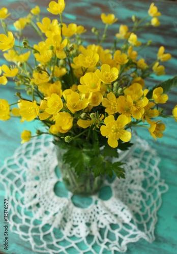 Zdjęcia na płótnie, fototapety, obrazy : Marsh Marigolds in Springtime, bouquet, rustic style.