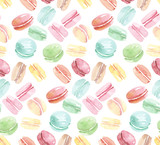 colorful assorted macaroon seamless pattern. watercolor illustra