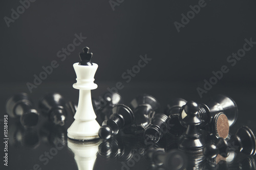 Sliko Chess pieces lying