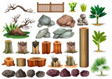 Gardening set of rocks and branches