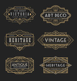 Vintage line frame design for labels, banner, logo, emblem, apparel, t- shirts, sticker and other design object. Vector illustration