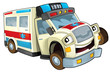 Cartoon ambulance - caricature - isolated - illustration for the children