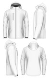 Men hooded softshell jacket design template