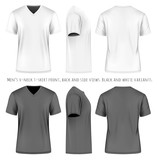 Men short sleeve v-neck t-shirt