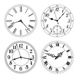 Editable vector clock faces. Arabic and roman numerals. Round shape. Easily remove and replace hands and design. - 115223789