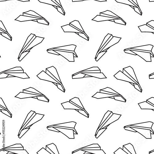 Papiers peints Cartoon draw Black and white paper plane seamless pattern