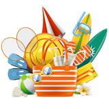Vector Beach Accessories with Bag