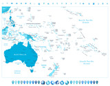 Australia and Oceania detailed political map in colors of blue a